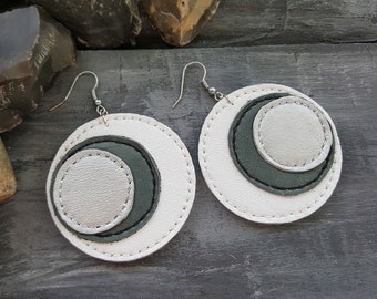 Large circle earrings. Leather earrings. White earrings. Boho earrings. Geometric earrings. Leather jewelry. Boho jewelry. Dangle earrings.