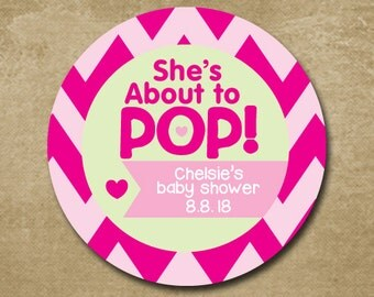 She's About to Pop Shower Favors, Baby Girl Shower Stickers, Pink Chevron Stickers, Baby Shower Gift Tags