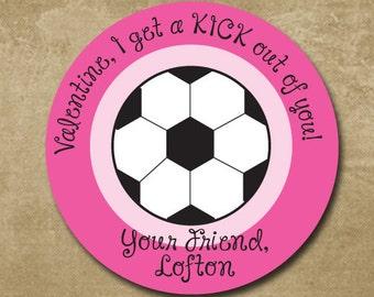 soccer valentine day stickers round personalized stickers for valentines school valentines for girls - Soccer Valentine Box
