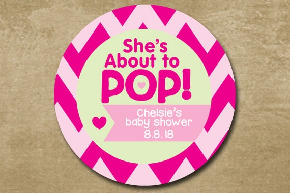 she 39 s about to pop shower favors baby girl shower stickers pink