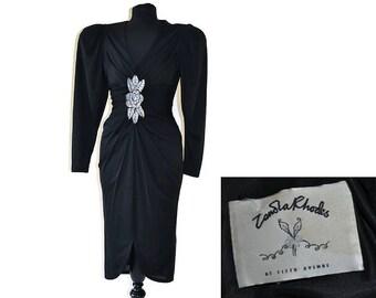 "Vintage Zandra Rhodes Dress // 1980's Designer Dress // Black Dress // Waist 26"""