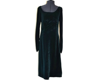 Frank Usher Dress 1950's Green Velvet Dress // Vintage Wiggle Dress // Size M