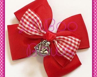 Handmade Little Red Riding Hood Inspired Hair Bow