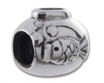 Authentic Biagi 925 Sterling Silver Fish Bowl Bead Charm fits Major Brands LKQBS123