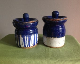 Set of Two Blue and White Ceramic Jars