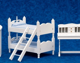 Dollhouse Miniature 1:12 Scale 5 pc White Bunkbed Set with Blue Fabric #T5349