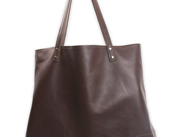 Large Brown Leather Bag, large leather tote bag, women's oversized tote