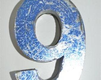 Fantastic vintage style blue 3D metal sign number 9