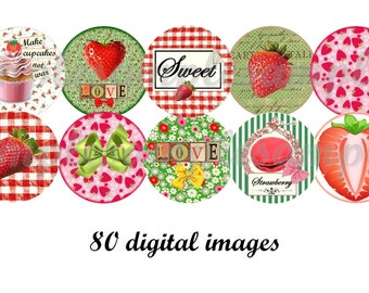 Digital Collage Sheet 1 inch Bottle Cap Charms strawberry Images, digital round, Instant Download