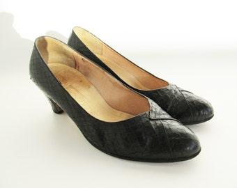 50s Vintage Leather Pumps • Black Snake Skin Shoes • Black Leather Heels • Black Leather Pumps • 50s Leather Shoes • EU 37.5 • US 7 • UK 4.5