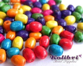 100 pc. Small Oval Wooden Beads 6x4 mm - Mixed Colours