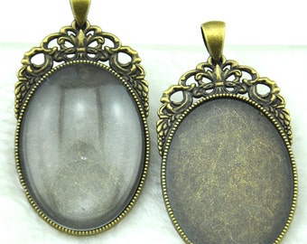 Cabochon Base Setting  Antique Silver / Antique Bronze Oval Cameo Charm Pendants 30x40mm-----G1848