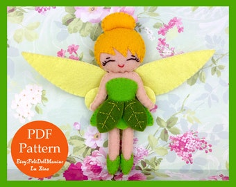 Tinker Bell. Felt Doll. Felt Pattern. PDF Pattern and Tutorial. Fairy Tale. Disney Fairy.