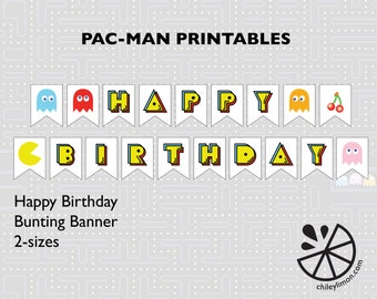 Pac-Man Birthday Party Bunting Banner Printable INSTANT DOWNLOAD-WHITE Background