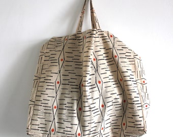 NEW - Hand block printed and painted large tote bag
