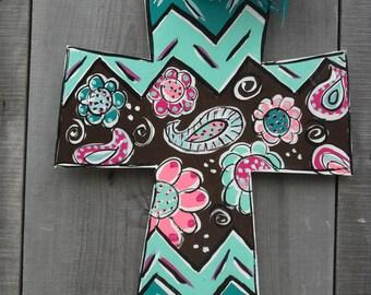Cross decor, Cross door hanger , Wood cross, Hand painted cross, Wood cross wall decor, Wooden cross, mothers day , housewarming