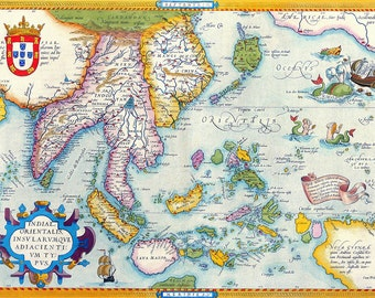 Abraham Ortelius: Map of South East Asia. Antique/Vintage Map. Fine Art Print/Poster (003876)