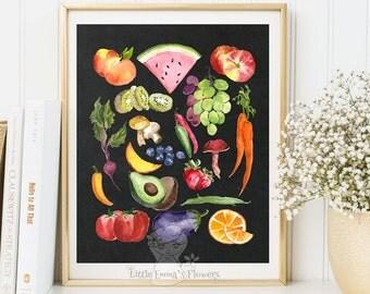 Culinary print art watercolor Fruits print kitchen wall art decor poster printable garden plants fine art decoration botanical food art 3-90