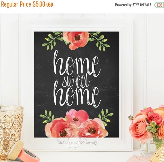 Home Sweet Home Print Entrance Wall Art By LittleEmmasFlowers