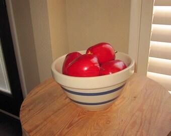 Tan and Blue Striped Stoneware Bowl