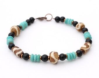 Men's Southwestern Bracelet - Brown, Black, and Turquoise, Men's Jewelry, Christmas Gift for Him, Boyfriend Gift, Husband Gift