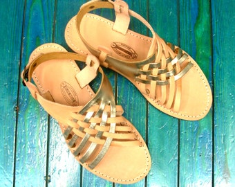 Purchase 2 Pairs at everything of GREEK Sandals - 10% OFF. Genuine Leather Sandals,Gold Sandals,Gold Decor, Strappy Sandals,Women's Sandals.