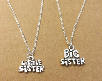 Big and Little sister silver charm necklace