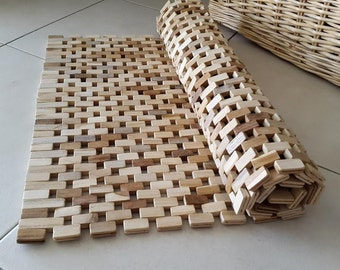Wood Rug/ Wood Floor Mat/ Rug from wooden parts/ Bath wooden pieces/  92X49 cm /36,2X19,29 inches