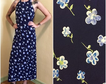 90s maxi navy blue floral dress size small