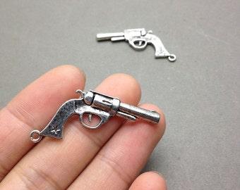 20 pcs of Antique Silver Mini Pistol Gun Charms revolver charm 20mmx40mm