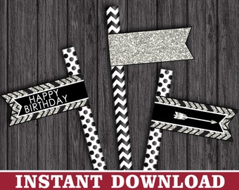 Tribal Straw Flags - Birthday Party Straw Drink Tags - Printable Digital File - INSTANT DOWNLOAD