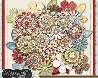Carefree Layered Flowers Digital Scrapbooking Kit, Summer, Spring, Country