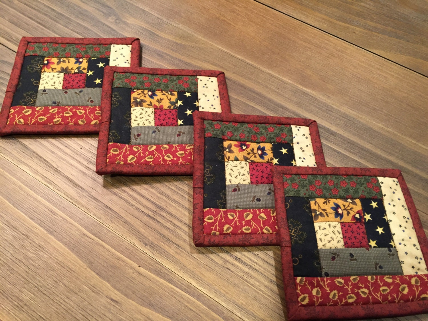Log Cabin Coasters Quilted Mug Rugs Item 1414