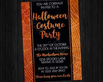 Elegant Cobwebs Halloween Costume Party Invitation (Printable)