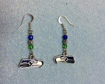 Seahawk Beaded Charmed Earrings
