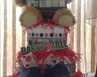 Michael Jordan Theme Red/Black 3 tier Diaper Cake-Made To Order