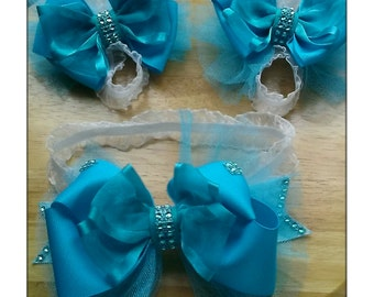 Aqua Blue Baby Bare Foot Sandals With Matching Headband Sets