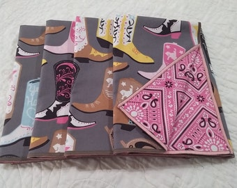 Dinner Napkins-Reversible - Set of 4 - Cotton - Table Linens - Pink, Gray, Yellow - Boots-Pink Bandana