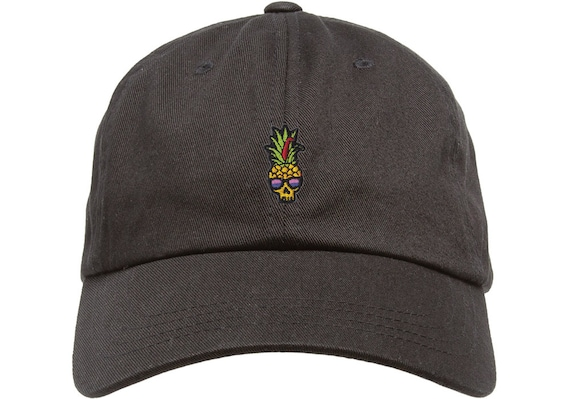 Black Dad Cap with Pineapple Skull Patch Low Profile Dad Hat
