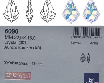 Swarovski 6090 Baroque Pendant 22x15mm Crystal AB.  The price is for 1 pendant