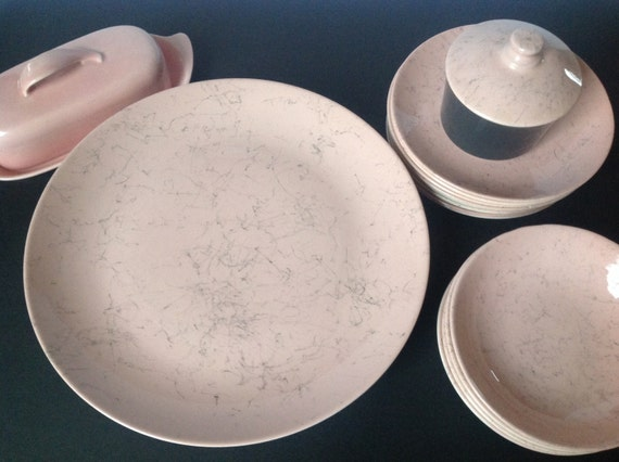 Blue Ridge Pink dishes with black spider web ceramic dishes