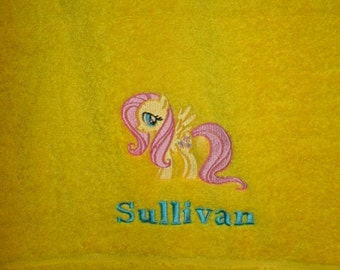 Pony Fluttershy Personalized Bath Towel  ANY COLOR