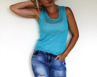 New summer linen top- women linen Linen turquoise blouse for woman,knitted linen top,linen tops,linen clothing,eco friendly, summer clothes