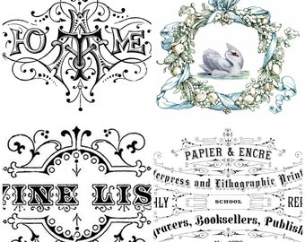 French Vintage Typography Advert shabby chic supplied as iron on transfer, clear or white sticker choice of four images