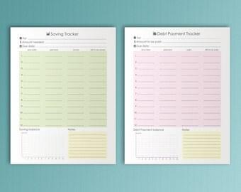 Big Happy Planner Inserts Debt Payoff Savings Tracker Letter Size PDF Printable Budget Organizer Finance Binder Inserts Instant Download.