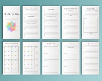 Life Planner Midori TN 4.33x8.25 Travelers Notebook Printable Inserts MTN Refills Life Organizer Midori Traveler's Notebook Instant Download