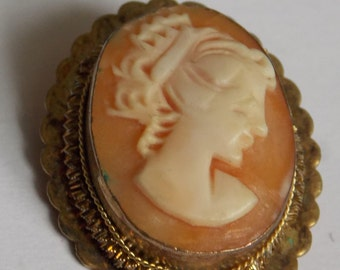 old PIN pendant cameo shell vermeil former jewel