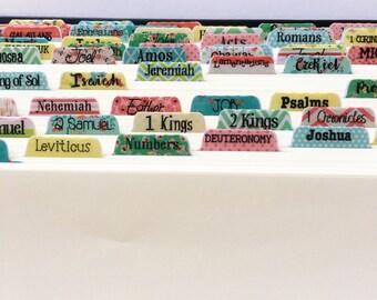 Catholic Bible Tabs - Bible Journaling Bible Tabs - Laminated Stickers - Cute Patterns BT112