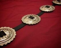 Concho Belt - Black Vegan Leather