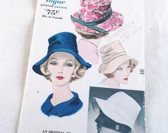 vintage hat pattern, 1960s Vogue sewing pattern, soft brim bucket fedora